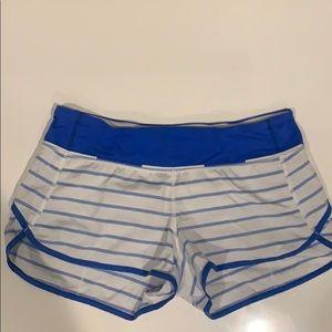 blue and white lulu lemon shorts